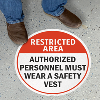 Restricted Area Wear Safety Vest Standing Floor Sign