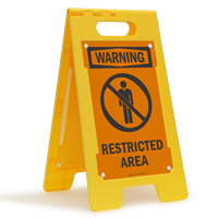 Warning Restricted Area W/Graphic Fold-Ups® Floor Sign