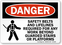 Safety Belts And Lifelines Required OSHA Danger Sign