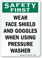 Safety First Wear Goggles Sign