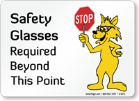 Safety Glasses Required Fun Safety Fox Sign