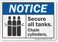 Secure All Tanks Chain Cylinders ANSI Notice Sign