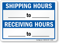 Shipping Hours To Receiving Hours Sign