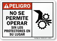 Spanish Danger Do Not Operate Without Guards Sign