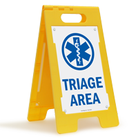 Triage Area W/Graphic Fold-Ups® Floor Sign