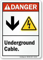 Underground Cable Down Arrow Electric Shock Symbol Sign