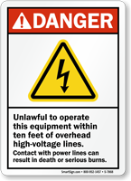 Overhead High-Voltage Lines ANSI Danger Sign