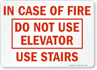 In Case of Fire; Elevator Sign