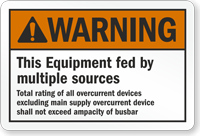 Warning Equipment Fed By Multiple Sources Label
