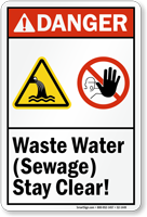 Waste Sewage Water, Stay Clear Sign