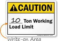 Ton Working Load Limit Write On Area Sign