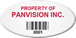Custom Oval Asset Tag with Barcode, 0.75in. X 1.5in. (White Background)