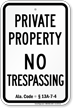 Alabama No Trespassing Sign