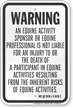 Equine Liability Sign