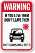Do Not Leave Pets In Hot Car Sign