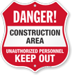 Construction Area Shield Sign
