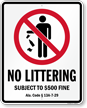 Alabama No Littering Sign