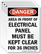 OSHA Danger Do Not Block Electrical Panel Label