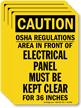 OSHA Caution Do Not Block Electrical Panel Label