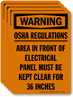 Warning Do Not Block Electrical Panel Label