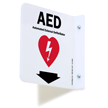 2 Sided Projecting AED Sign