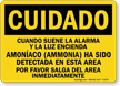 OSHA Cuidado Spanish Ammonia Detected In Area Sign