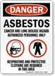 OSHA Danger Respirators and Protective Clothing Required Sign and Label