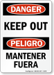 Bilingual OSHA Danger Keep Out Sign