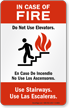 Bilingual In Case Of Fire Sign