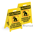 Danger Confined Space Non Permit Air Test Required Sign, SKU
