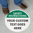 Custom Safety Instructions 17in. Circle Floor Sign