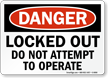 OSHA Danger Lockout Sign