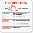 Elevator Fire Operation Sign