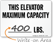 Elevator Max Capacity Sign