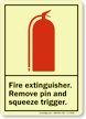 Fire Extinguisher Instruction Glow Sign
