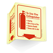 Fire Extinguisher Instruction Projecting Glow Sign