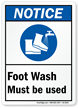 ANSI Notice Foot Wash Sign