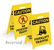 Reversible Fold-Ups® Floor Sign - Lightweight Plastic 20in.H x 11in.W