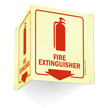 Glow-In-The-Dark Projecting Fire Extinguisher Sign