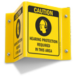 Projecting Ear Protection Sign, 6in. x 5in.