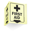 Glow-in-the-Dark Projecting First Aid Sign, 6in. x 5in.