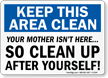 Housekeeping Clean Signs Label