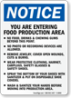 Food Production Area Rules OSHA Notice Sign