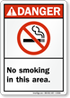 Danger: No Smoking In This Area Sign