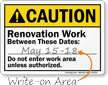 Under Construction Write-On ANSI Caution Sign