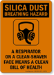 Silica Dust Breathing Hazard Sign