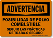 Spanish OSHA Warning Potential Combustible Dust Hazard Sign