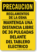 Spanish OSHA Caution Electrical Panel Keep Clear Sign