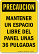 Spanish OSHA Caution Keep Electrical Panel Clear Sign