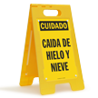 FloorBoss XL™ Spanish Caution Falling Ice & Snow Stand-Up Sign
